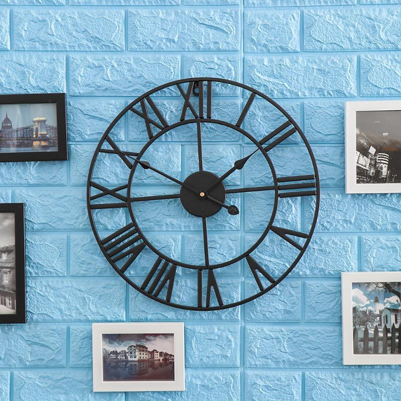 3D Circular Retro Roman Wrought Hollow Iron Vintage Clocks Mute Home Decor