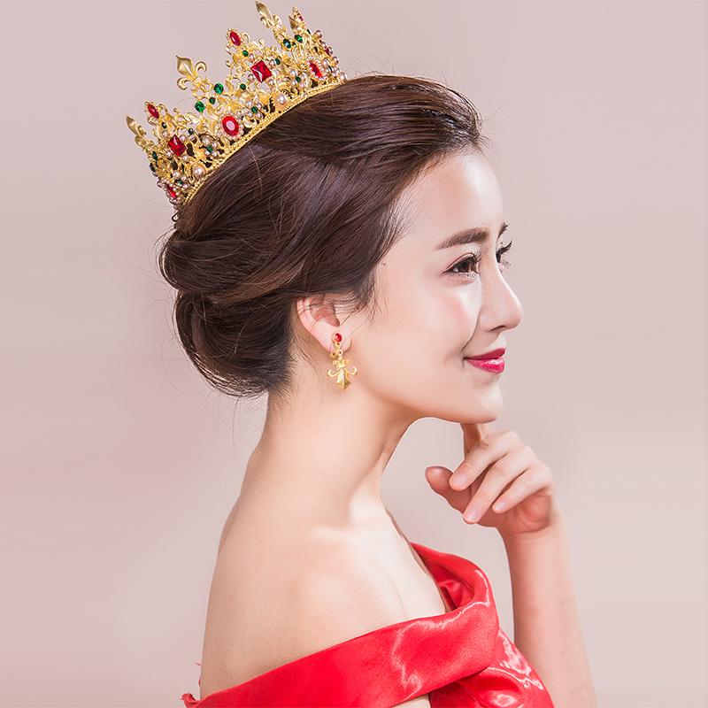 king-queen-baroque-crown-and-earrings-red-rhinestone-bride-tiaras-women-wedding-gold-crowns-bridal-hair (1)