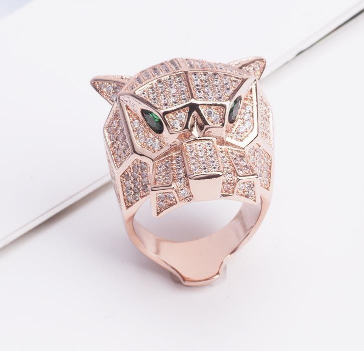 Brand Fashion Party Jewelry For Women Rose Gold Black Pattern Panther Wedding Jewelry Leopard Ring Y19062004