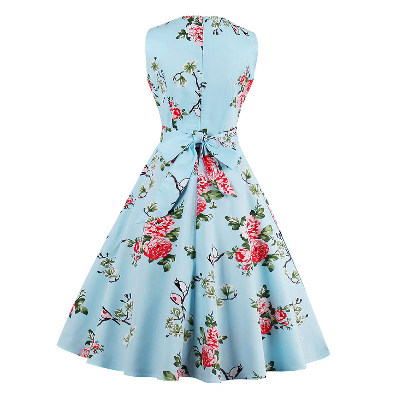 Kostlish 9 Style Print Summer Dress Women 2017 Sleeveless Swing 1950s Hepburn Vintage Tunic Dress Elegant Party Dresses Sundress (16)