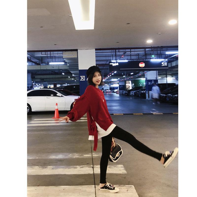 Love2019 patrón coreano Chic vendaje falso dos papeles Ins Exceed Fire Hoodie. Chaqueta de manga larga de mujer Pp Home Easy
