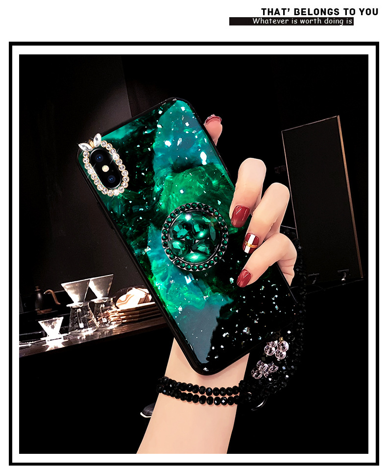 Rhinestone With Finger Ring Plush Chain Phone cover Case For iPhone 7 6 S plus 8 X XS XR MAX Strap Girls Women Kickstand Gift (5)