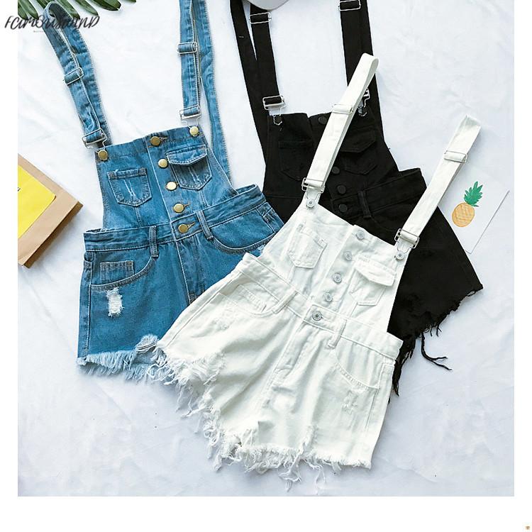 New South Korea loose cowboy straps pants summer students high waist holes burr pants pants shorts tide (2)