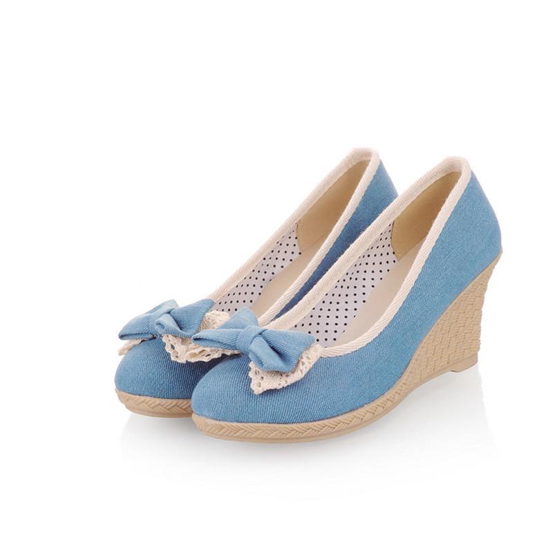 Shoes KARINLUNA 2019 dropship wholesale Spring summer Denim Cloth sweet Bow Shallow Woman Pumps wedges High Heel Women