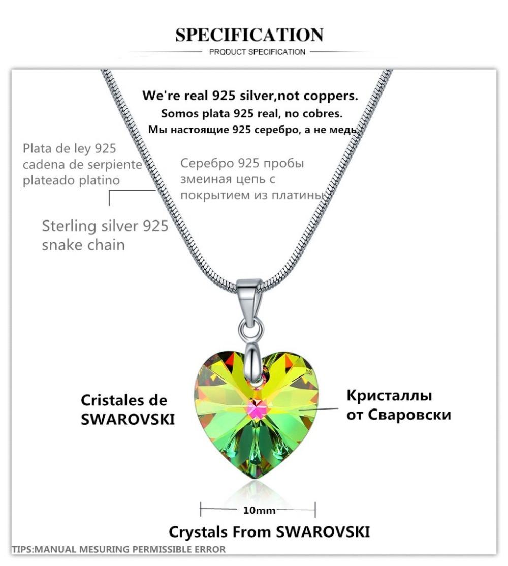 HEART PENDANT NECKLACE CRYSTAL FROM SWAROVSKI SIZE-2