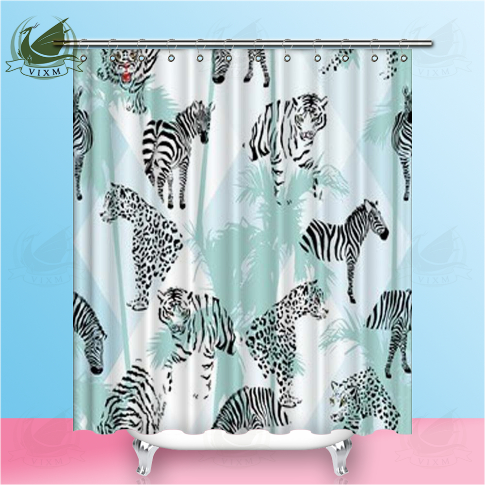 White Tree On Black Background Bathroom Shower Curtain Polyester Hooks