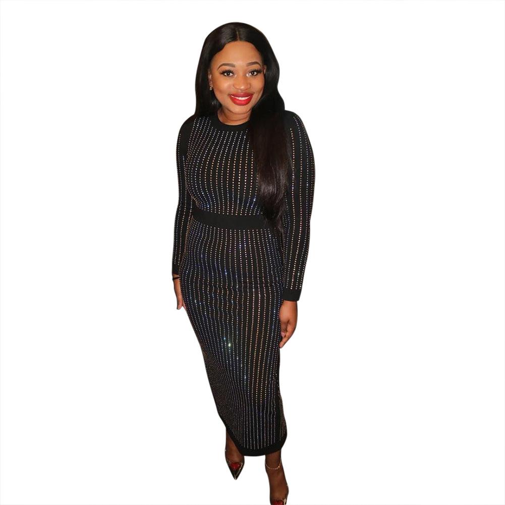 2019 femmes Hip ronde Robe à col Fashion manches longues d'or pailleté Soirée serrée et élégante jupe mi-longue
