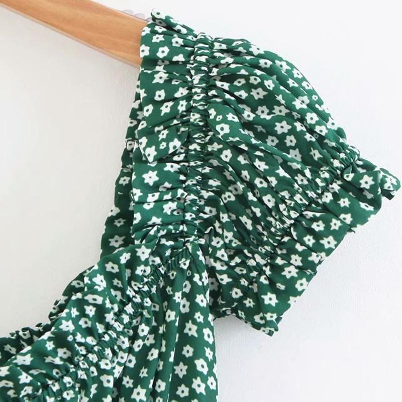Korean Retro Boho Mini Beach Dress Elegant Ruffle Boho Summer Dress Women Green Floral Bohemian Dress Elegant Vestidos 2018 Y190425