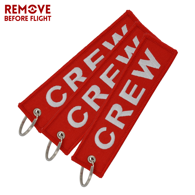 Fashion Jewelry Crew Key Chains OEM Keychain Jewelry Luggage Tag Safety Label Embroidery Crew Key Ring Chain for Aviation Gifts (10)