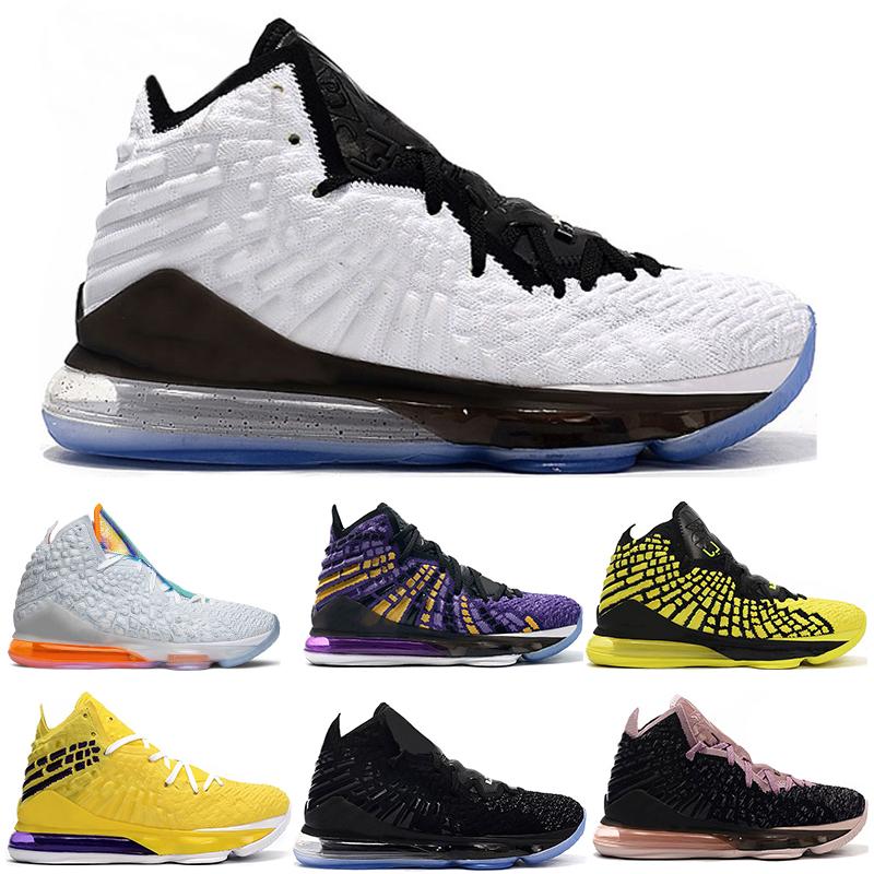 2019 New lebron 17 hommes chaussures de basket ball noir sneakers sport blanc avenir 17s entraîneurs sportifs noirs hommes blancs avenir Taille 7 12