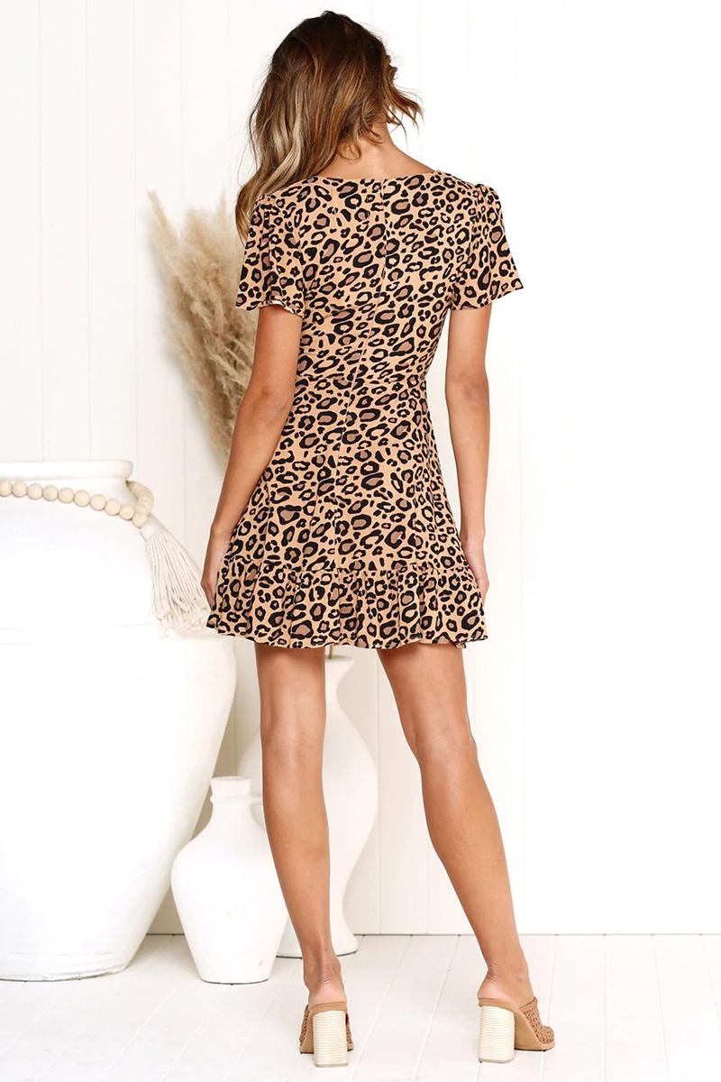 Forefair Print Leopard Dress sexy women short sleeve v neck Ruffle high waist Hem mini a line casual summer dress 2019 vestidos (15)