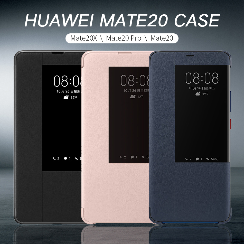 1Huawei Mate 20 X Pro Flip Case Cover Original Huawei Mate 20 case Smart Touch clear View Window PU Leather Luxury Protective