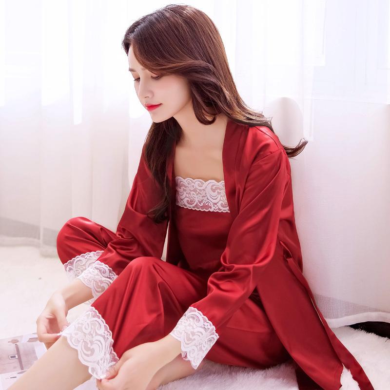 Китайский Стиль Невесты Свадебные Пижамы женские Пижамы Набор Атласная 3 шт. Пижамы Кружева Интимное Белье Сексуальное Кимоно Халат Платье S703