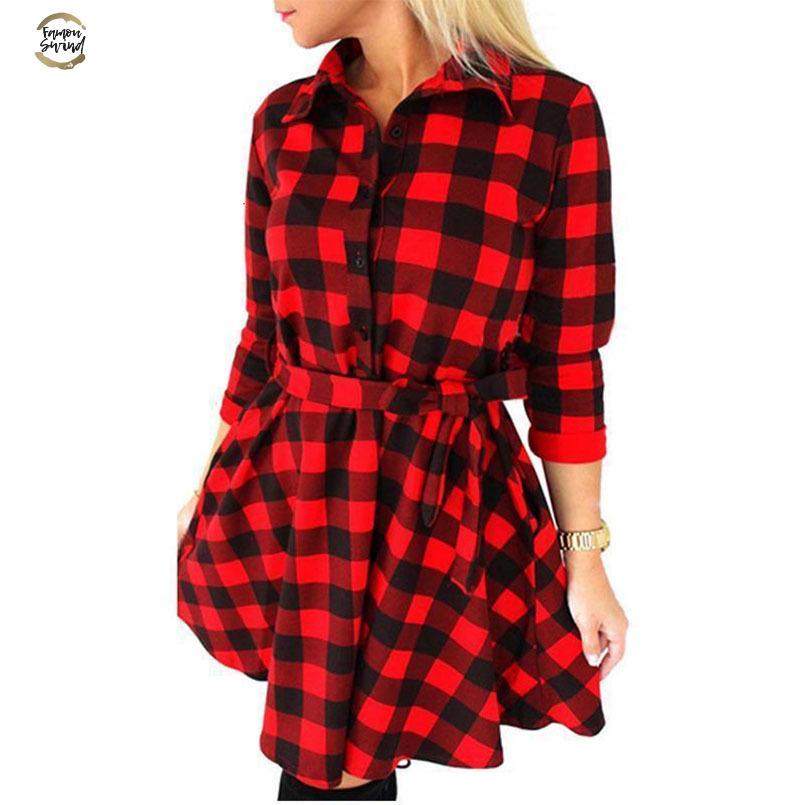 2018 Fashion Womens Checks Shirt Mini Dress Long Sleeve Plaid Romper Work Dress