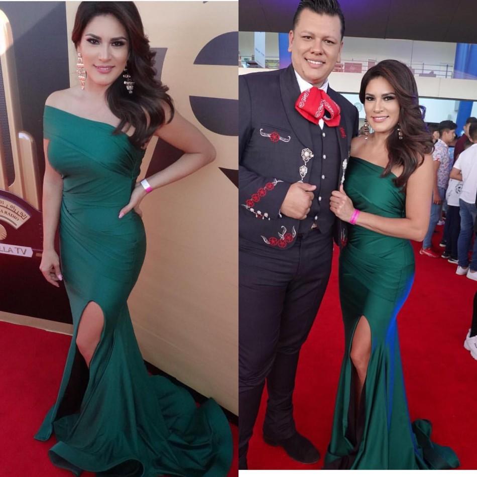 dark green 2019 neue art und weise nixe-abschlussball-kleider faltet  trägerlose high-side-split-abend-kleider formal wear red carpet runway