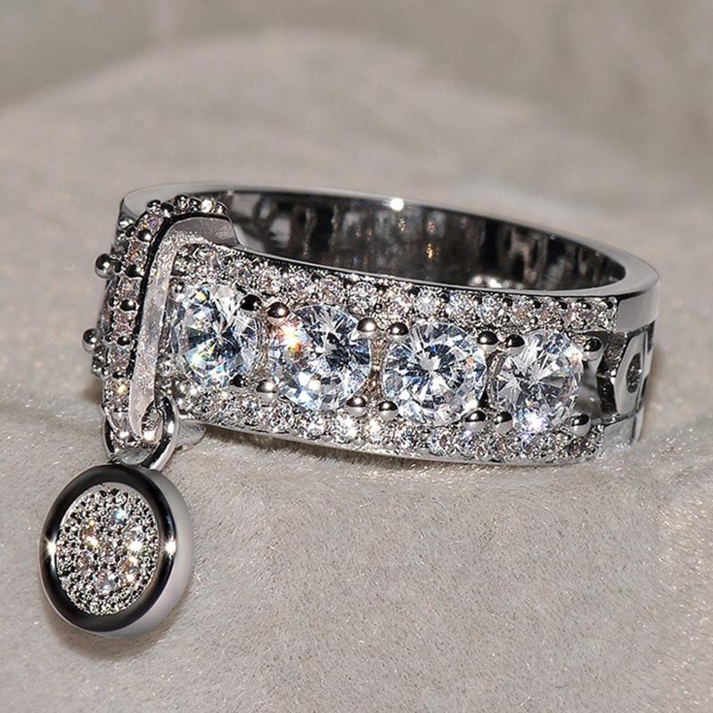 Новое прибытие Обручальное кольцо белого Циркон для ювелирных изделий Женщины Vintage Rose Red Кольца Дамы Классические обручальные кольца Женская мода