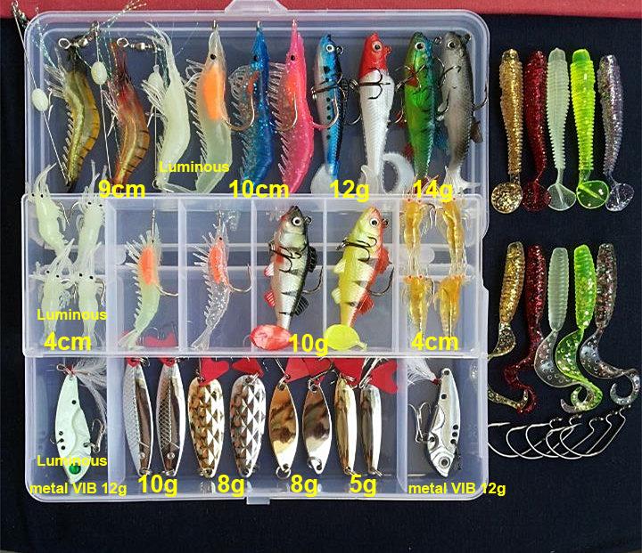 Lure Fishing Multi Mixed Colors Plastic Metal Bait Soft Kit W Box Wobbler 176pcs