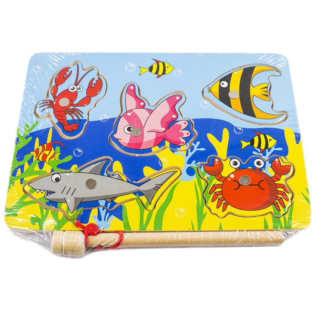 Wooden Magnetic Fishing Jigsaw Puzzle Board Game Educational Toy For Kid Fashion New Magnetic Fishing Board
