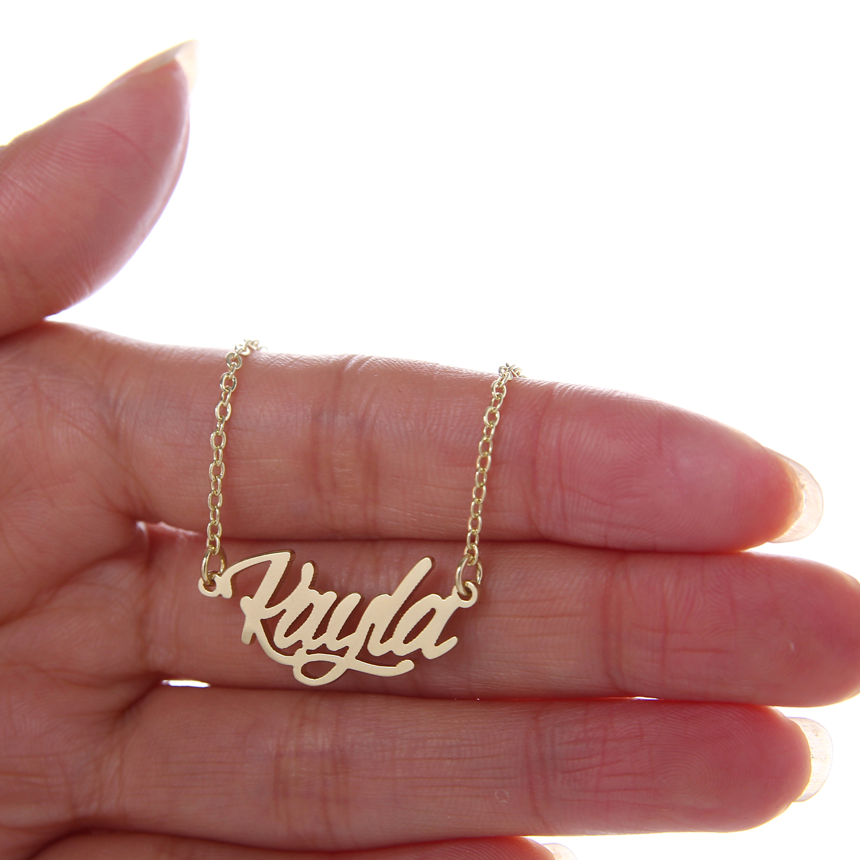 "18k Gold Plated Stainless Steel Name Necklace + Bracelet Set Women "" Kayla "" Script Letter Gold Choker Chain Necklace Pendant Nameplate Gift"
