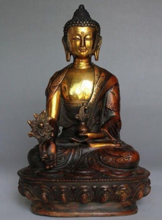 "antique excellent bronze Ksitigarbha Bodhisattva ancient statue 8/""High"