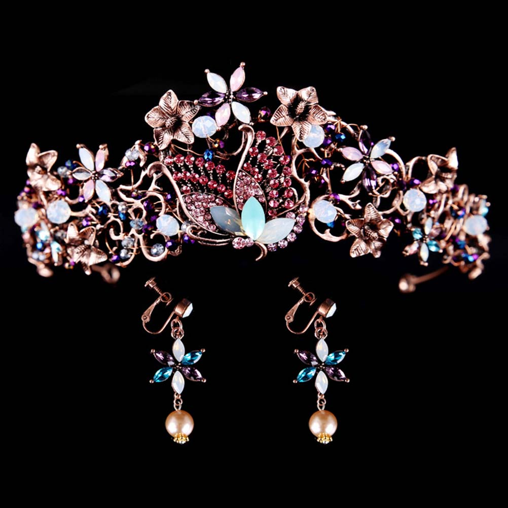 Bridal Alloy Vintage Elegant Crown and Earrings Hearwear Accessories for Wedding Banquet Party Dancing