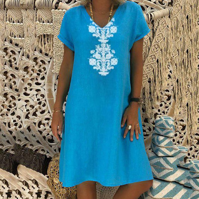 Women Dresses Knee Length Streetwear Fashion Summer Dress Women Plus Size 5XL Cotton Linen Dress Vintage Casual Vestidos Mujer 11