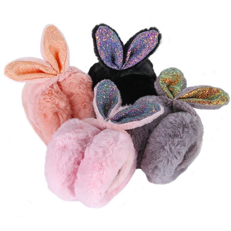 Christmas Deer Tree Festival Illustration Winter Earmuffs Ear Warmers Faux Fur Foldable Plush Outdoor Gift