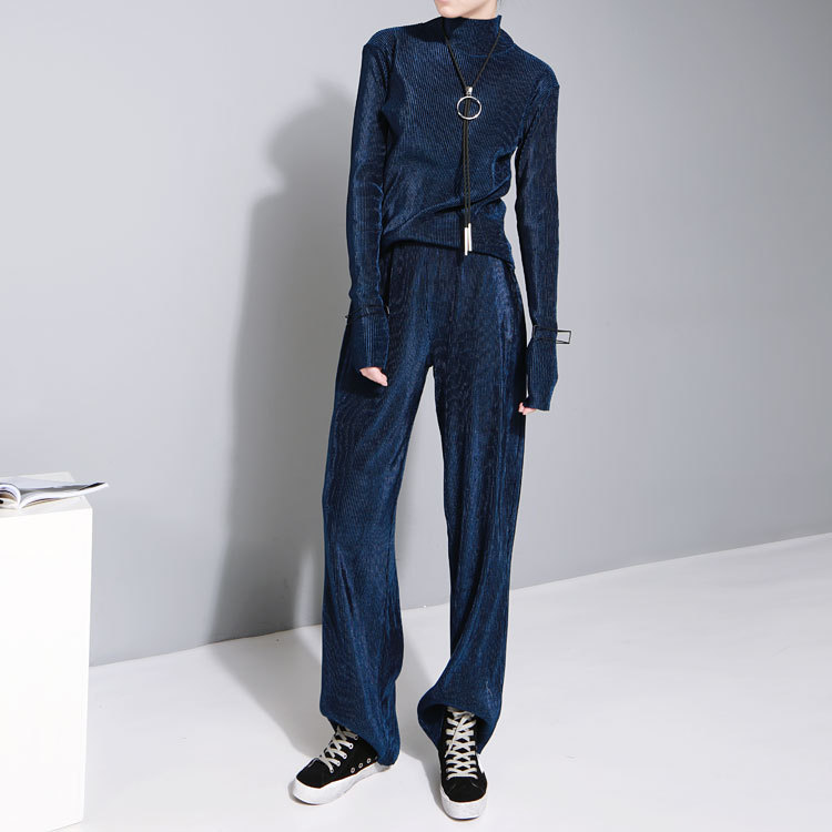 Saison 2019 Anzug-Kleid Pleuche Compression Bending Direkt Barrel Hose mit weitem Bein Frau Velvet Pants 349