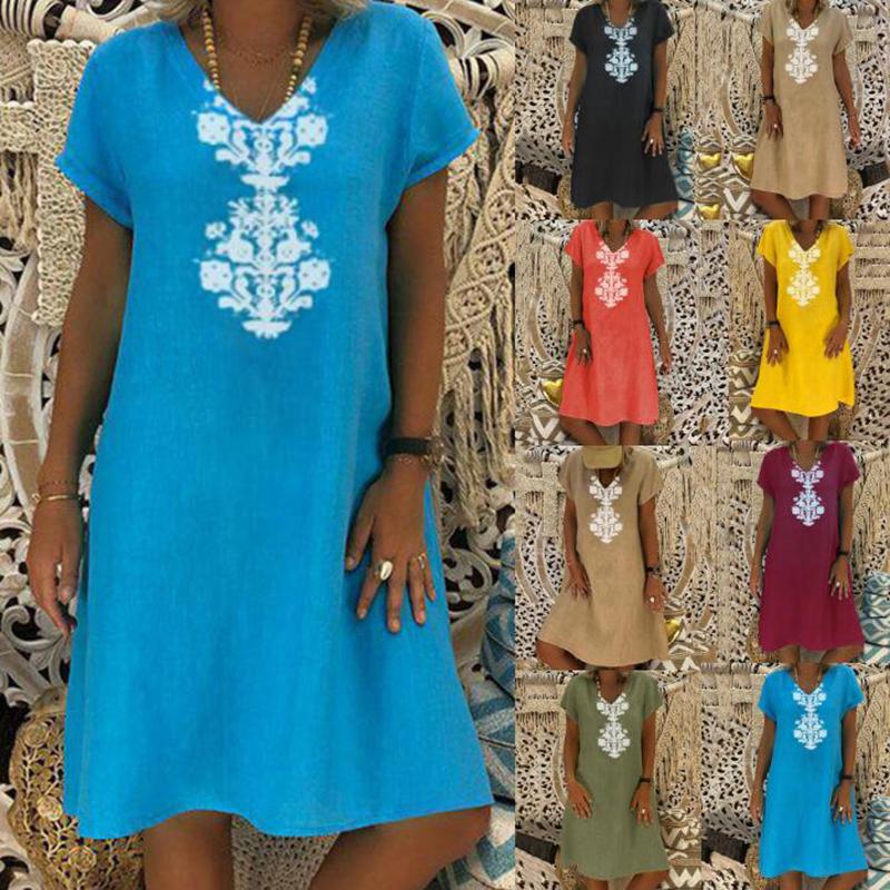 Women Dresses Knee Length Streetwear Fashion Summer Dress Women Plus Size 5XL Cotton Linen Dress Vintage Casual Vestidos Mujer 10