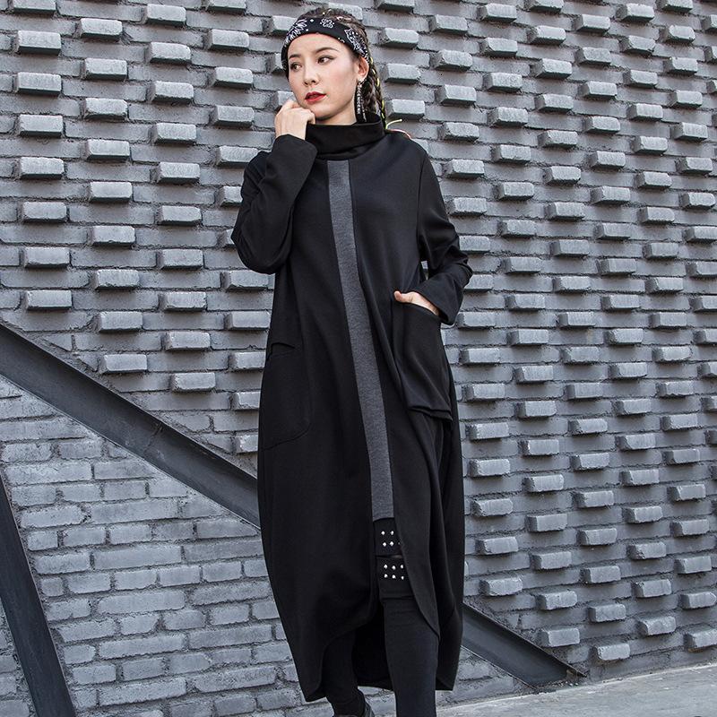 оптовые 2019 новых зимние одежд женщин водолазки полного рукава молнии пуловеров свободные длинные черные платья женские Платья WJ75801