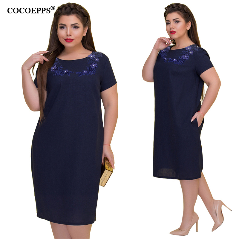 Cocoepps 2019 Plus Size Party Dress Summer Polka Vintage Blue Knee Length Dot Print Loose Maxi Dress 5xl 6xl Big Size Vestidos Y190514