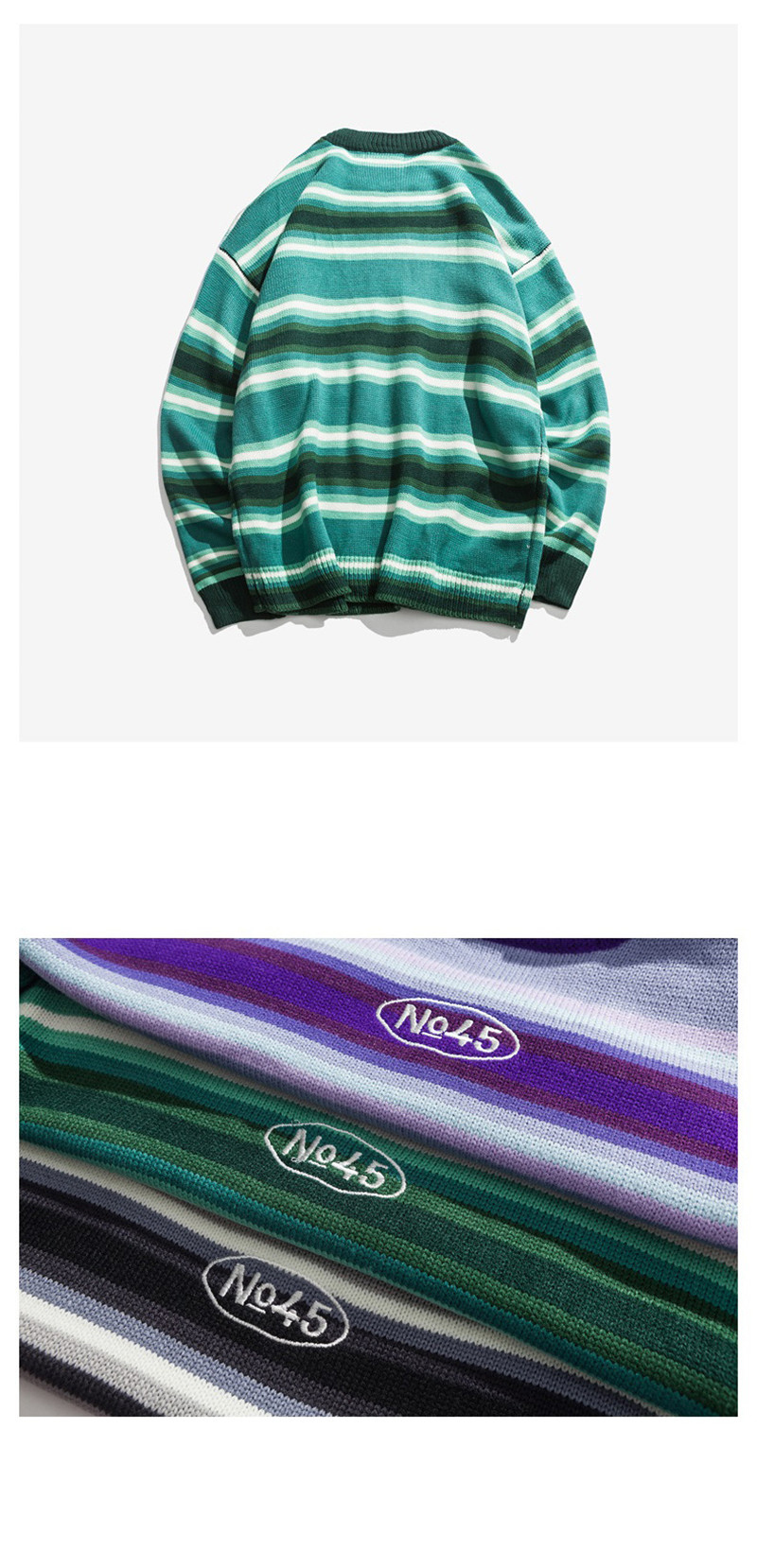 Knitted Japanese Harajuku Style Striped Sweater for Men Urban Boys Street Wear Crewneck Embroidery Pullover Jumper Oversized 10