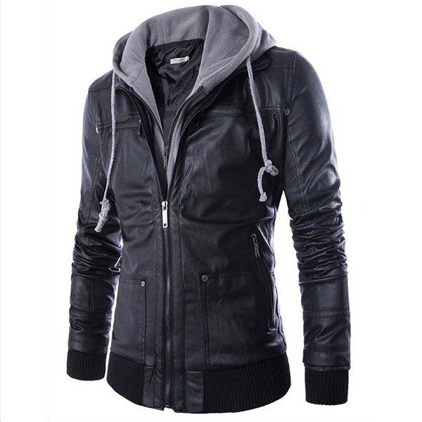 HOT Selling Men Motorcycle Black PU Leather Coats With Hooded Mens Slim Fit Jackets Men