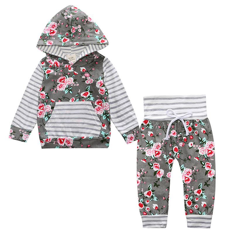 Newborn baby girl clothes Long sleeve hoodie flower with stripe+pant 2 piece Outfits Sets Children kids girls 2 pcs clothing set