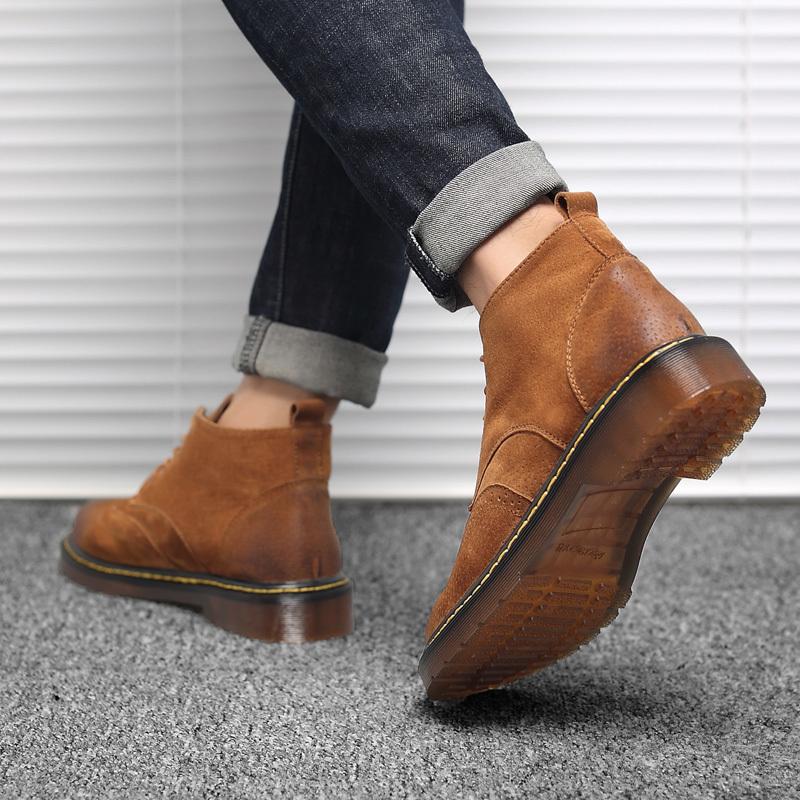 Stivaletti da uomo in vera pelle Autunno Inverno Moda uomo Martin Stivali Low-Cut Scarpe maschili di alta qualità Adulto 2018 New HH-048