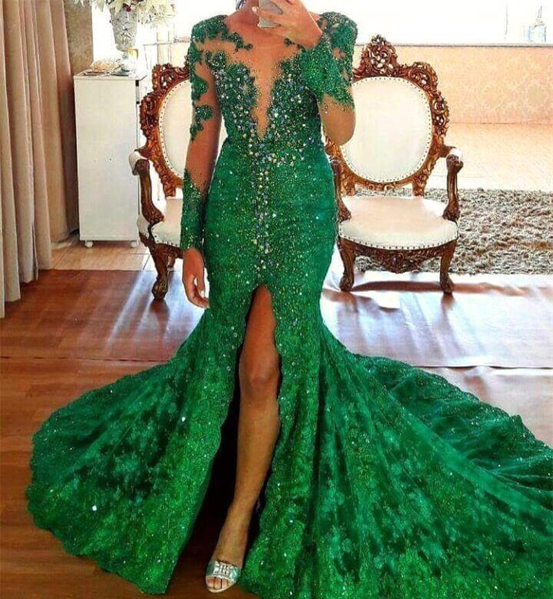 Mermaid Long Sleeves Prom Dresses 2019 Emerald Green Appliques Split Pageant Holidays Graduation Wear Formal Evening Party Gowns Plus Size