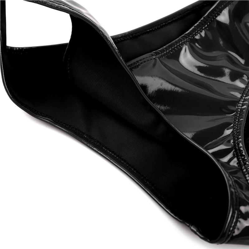 Sexy Femmes Exotique Lingerie Apparence Mouillée En Cuir Verni Faible Taille Apparence Brillante Haute Coupe Mini Culottes De Bikini Sous-vêtements Sous-vêtements T190625
