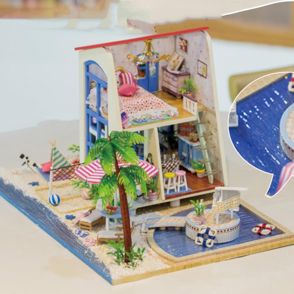 1:24 Dollhouse Kit Miniature DIY Seaside Villa House Kits Best Birthday Gifts for Teens Education Toys
