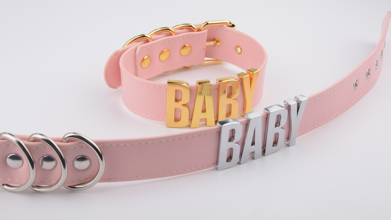 Personalized Charm Kawaii Gold Metal Baby Letters Choker Necklace Women Girl PU Pink Leather Punk Harajuku Collar Word Necklace 11