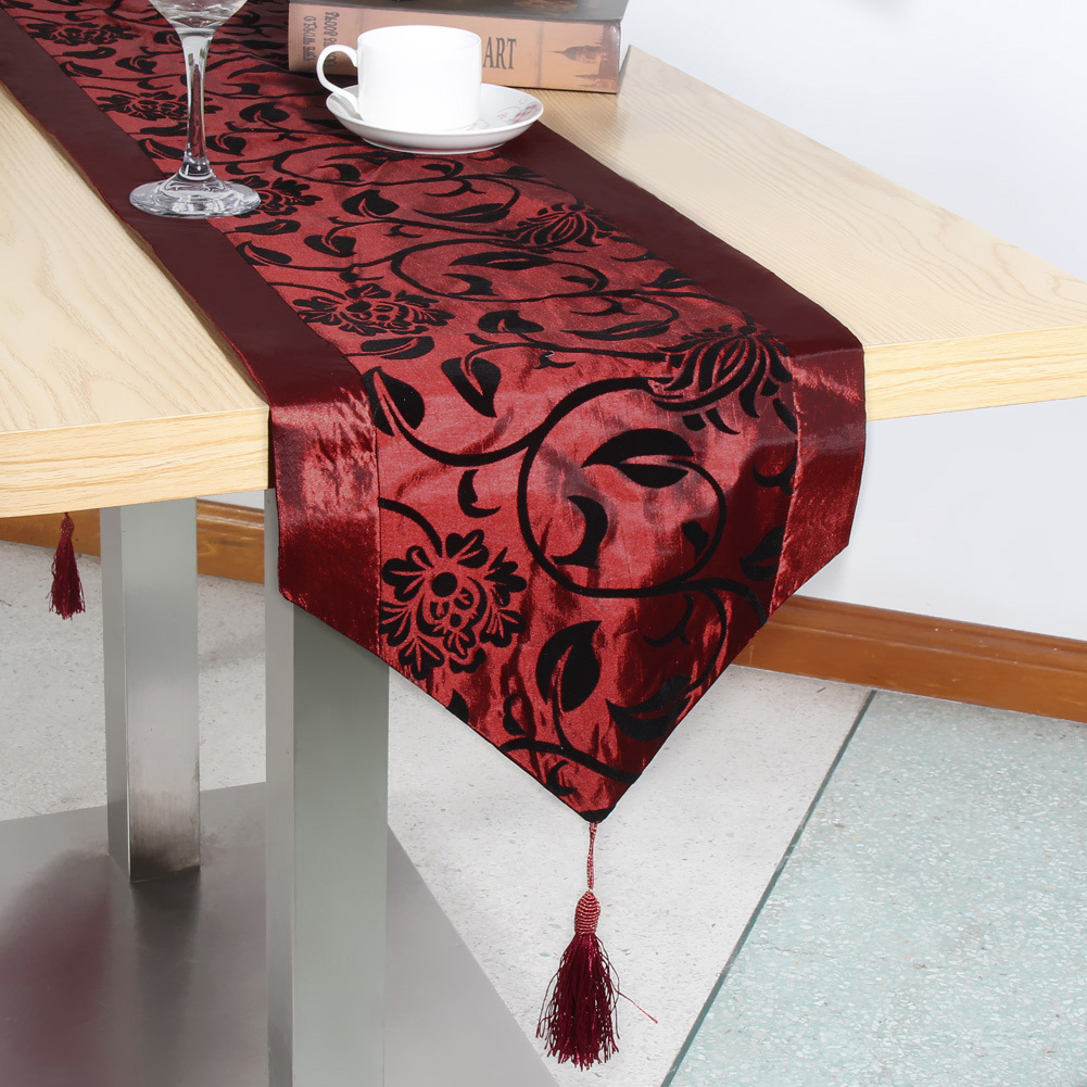 Table Cloth European Flower tablecloth Party Wedding Decoration Raised Flower Blossom Flocked Damask Table Runner Cloth Cover D19010902