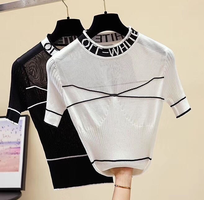 Модный свитер без рукавов женский кроп топ Летний пуловер майка Slim Casual Mesh Кофты с коротким рукавом женские футболки женская одежда