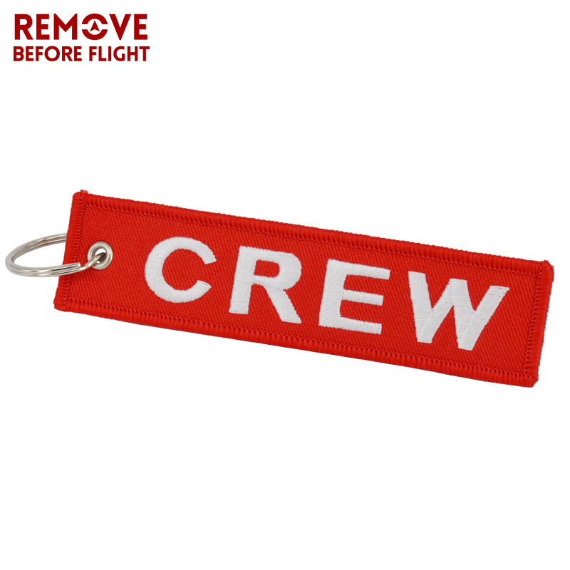 Fashion Jewelry Crew Key Chains OEM Keychain Jewelry Luggage Tag Safety Label Embroidery Crew Key Ring Chain for Aviation Gifts (1)
