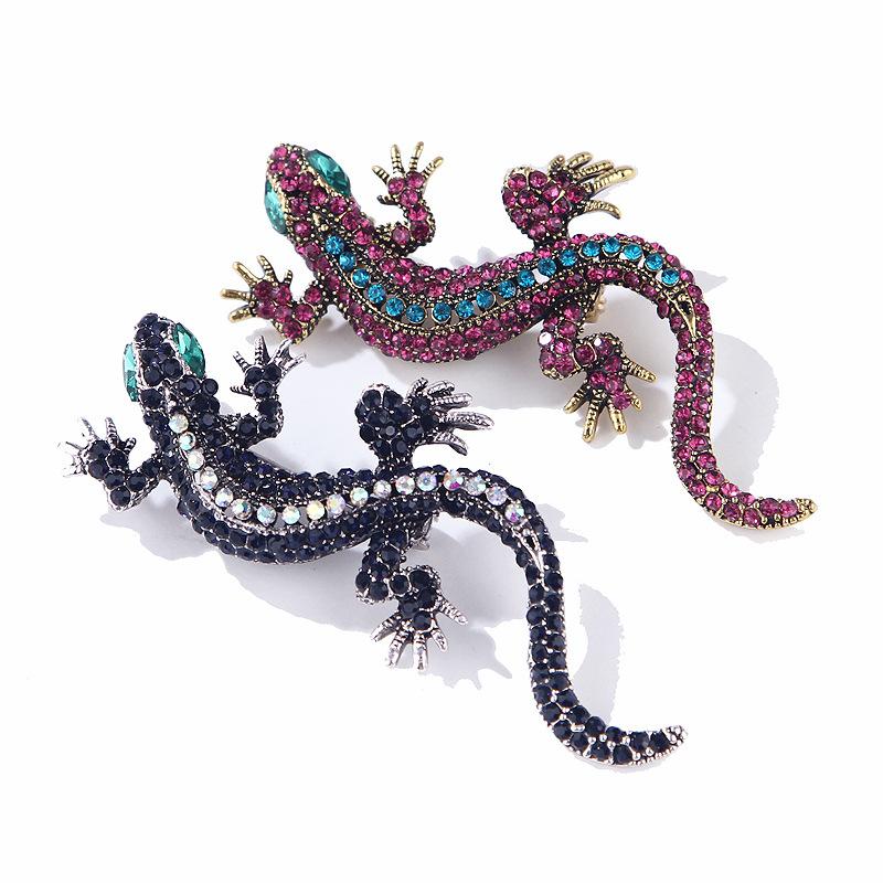 Vintage Strass Gecko Lézard Animal Broche pins Hommes Femmes Bijoux Argent