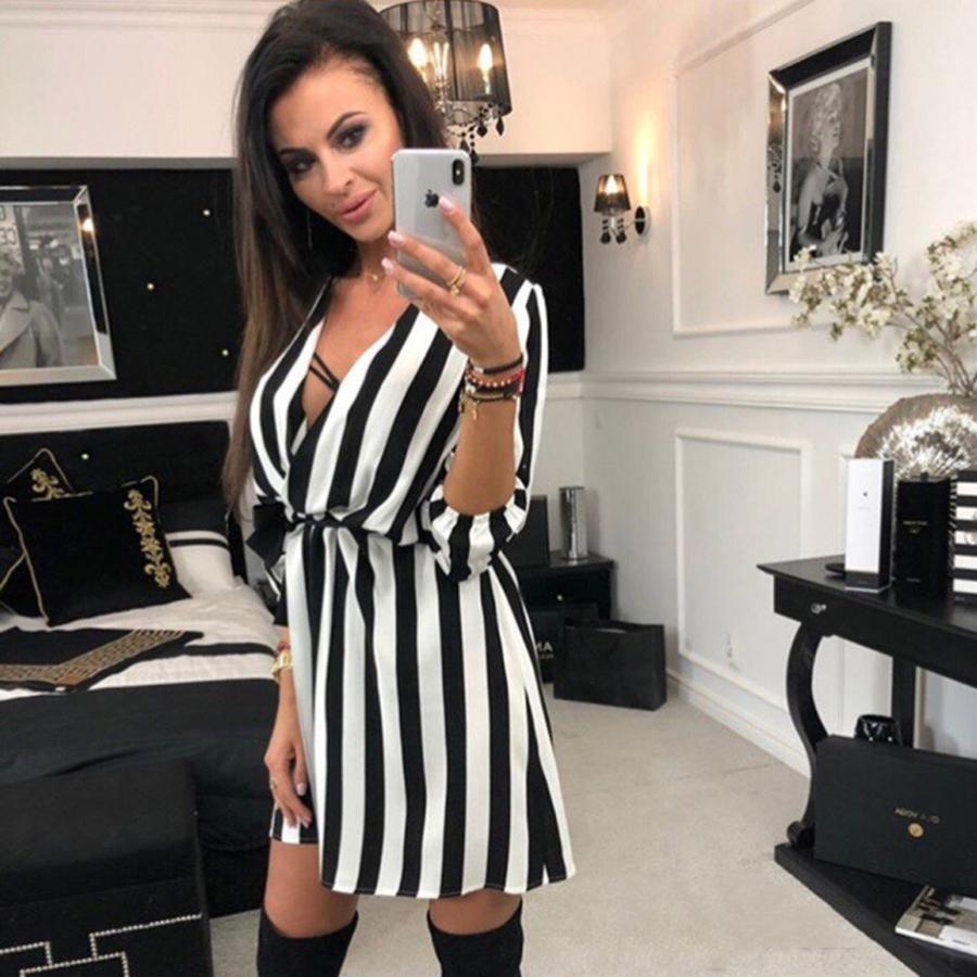 2018-Summer-Women-Dress-Striped-Office-A-Line-Dress-Batwing-Deep-V-Neck-Tunic-Bandage-Bodycon (3)