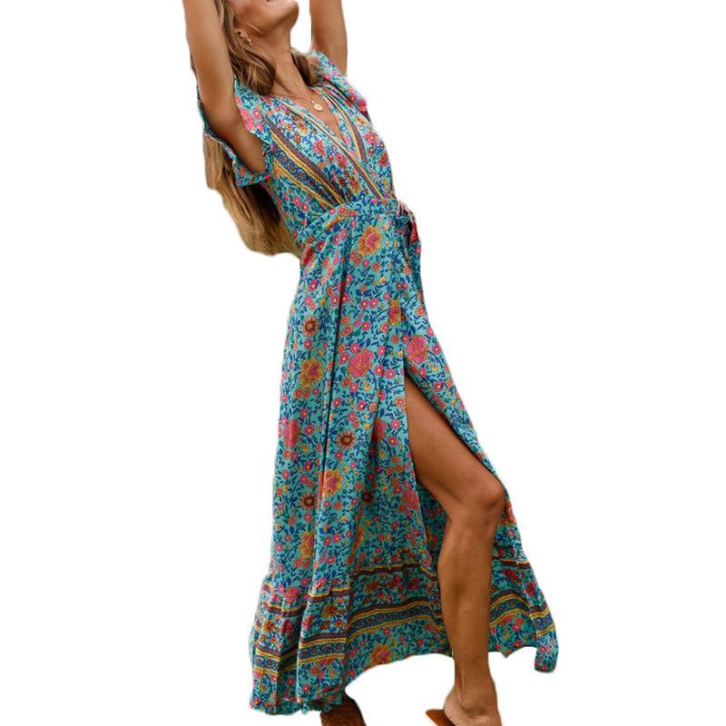 Boho Floral Print Long Maxi Women Chiffon Jumpsuit Split Summer Beach V Neck Short Sleeve Ladies Wrap Playsuits