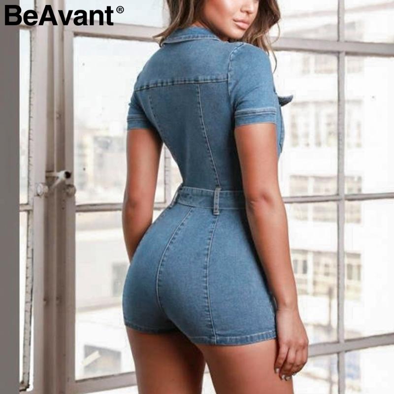 Beavant Zipper Sexy Denim Jumpsuit Corto Mujer Mamelucos Bolsillo Bodycon Summer Jeans Trajes Fiesta de Moda Casual Club Combishort Y19060501