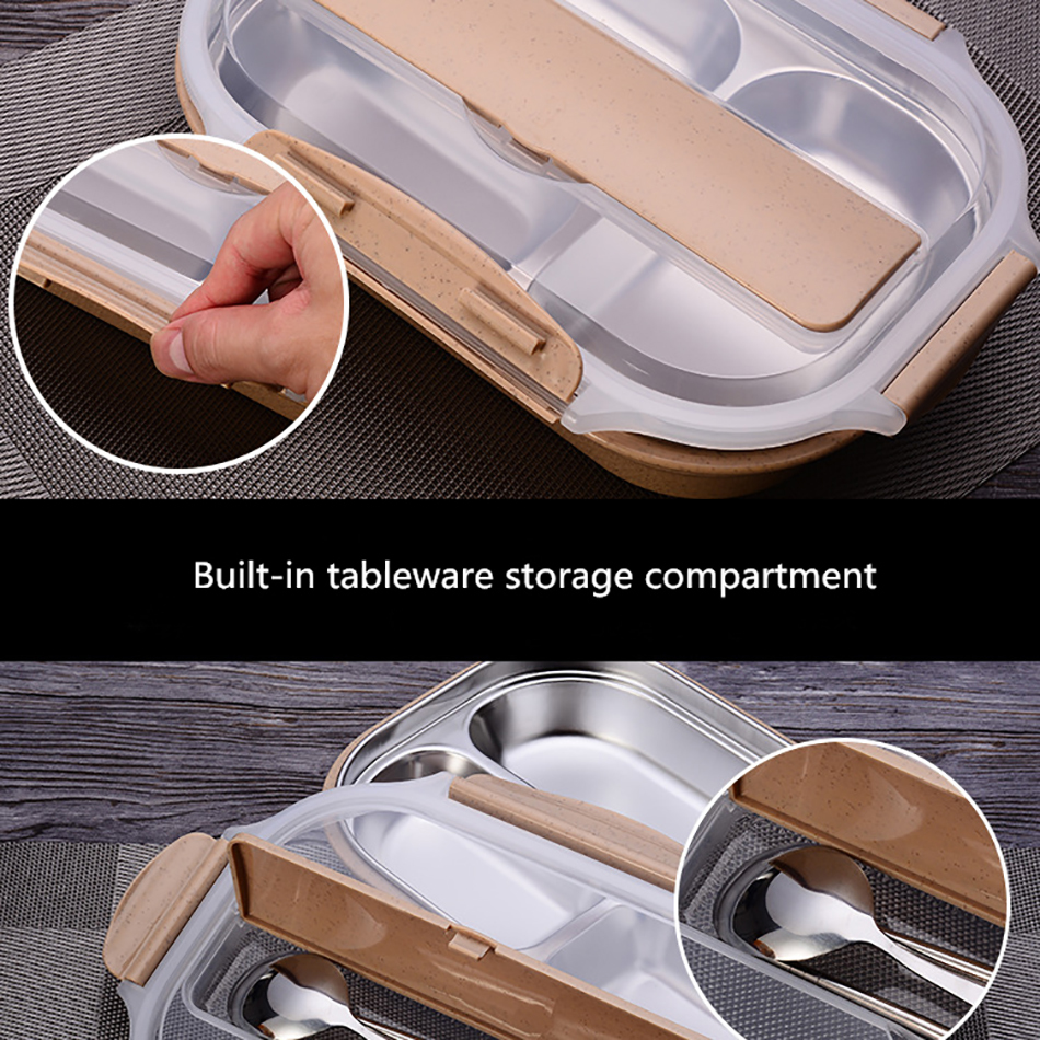 ONEUP stainless steel Lunch box Eco-friendly Wheat Straw Food container with cutlery Bento Box With Compartments Microwavable 13