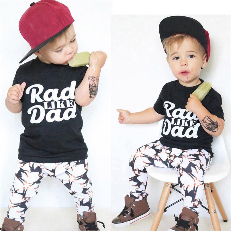 2Pcs Summer Boys Sets Toddler Baby Kids Boy Short Sleeve Letter Print Tops T-Shirt+Dog Print Pants Set Clothes M8Y06 (1)
