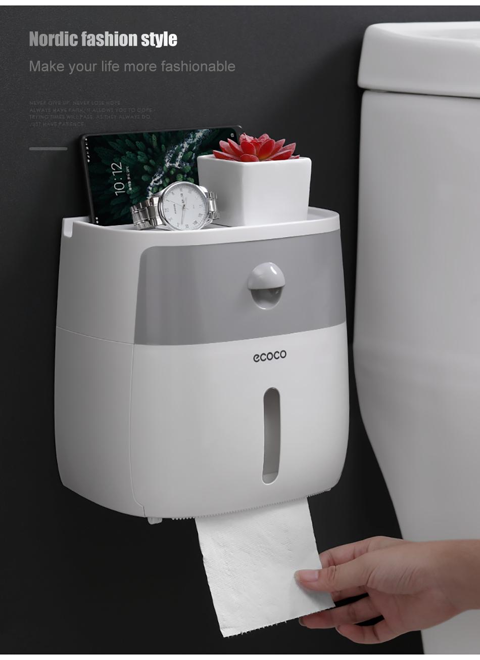 Boite Rangement Papier Wc toilette double couche support papier boîte étanche de stockage mural  toilette en rouleau toilette portable porte-papier
