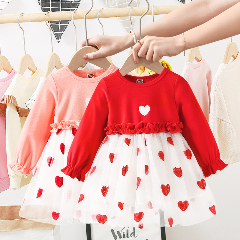 Baby Girl Dress Cotton Long Lantern Sleeved Fashionable Cute With Bag Attire New